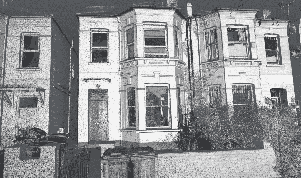 black and white image of richmond road house rear entrance